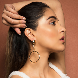 Aphrodite - Golden Chain Drop Hoop Earrings