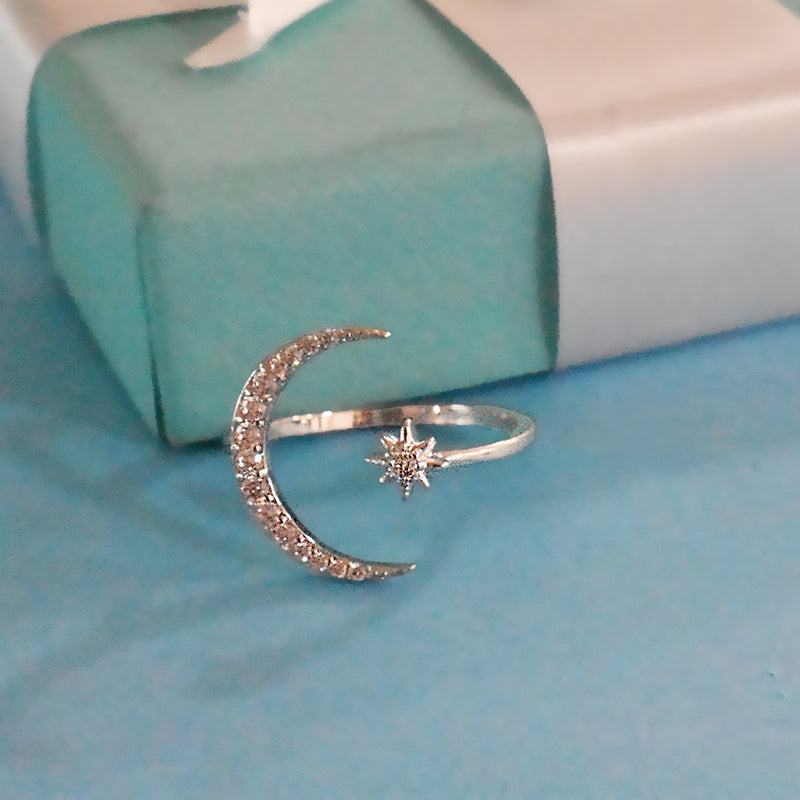 Arabian Nights - Silver - Dainty Stone Studded Moon Star Ring