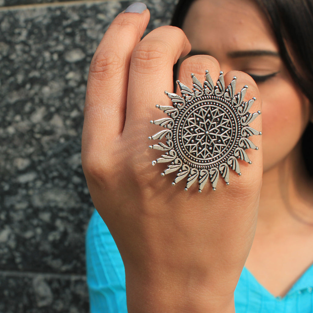 Arya - Sun Saped Oxidized Silver Artificial Statement Ring