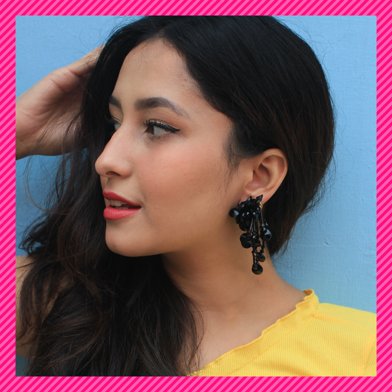 Black Beaded Flora - Sequin Stud Earrings