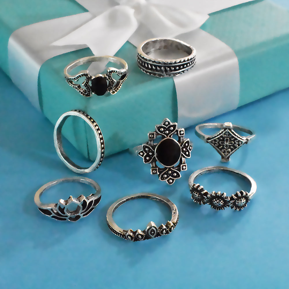 Bali Set of Rings- Black Stone and Silver Ring Set
