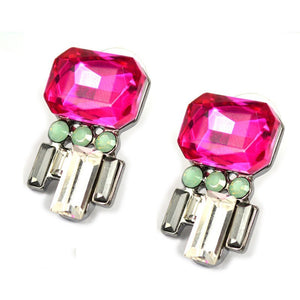 Bejewelled Pink- Pink and Silver Delicate Crystal Earrings