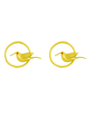 Bird's Eye - Golden Bird Stud Hoop Earring