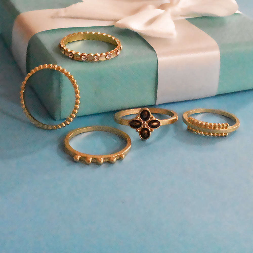 Budapest Set of Rings - Dainty Golden Stone Ring Set