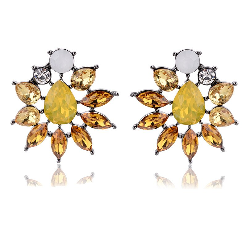 Burning Sun - Delicate Yellow Stone Crystal Earrings