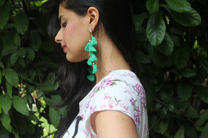 Cascades - Seaweed - Green Dangle Tassel Earrings