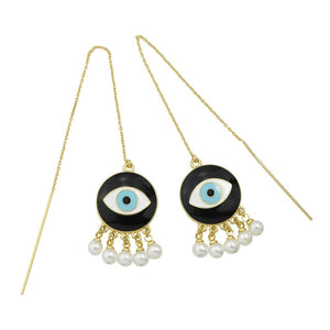 Cat Eye - Eye painted Circular Earrings with Pearls