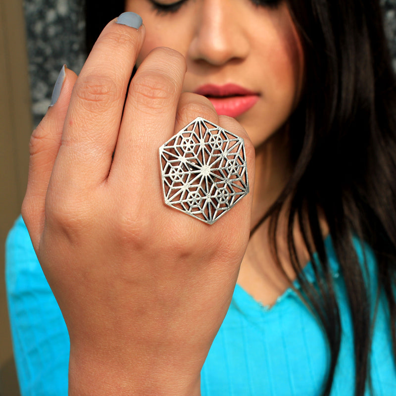 Chakravyuh - Hexagonal Silver Detailed Statement Ring