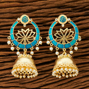 Chitrangada Earrings - Heavy Indian Earrings With Dainty Jhumki And Lotus