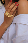 Cleopatra Double Ring - Golden Large Statement Spiked Double Ring