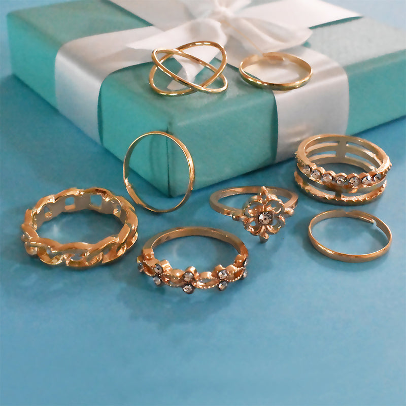Colombo Set of Rings - Dainty Golden Stone Studded Ring Set