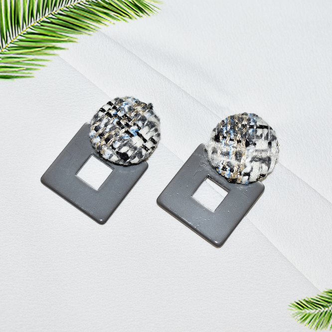 Fair & Square-Grey - Stud Earrings