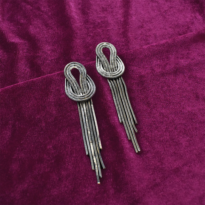 Kamikaze - Grey - Metal Tassel Earrings