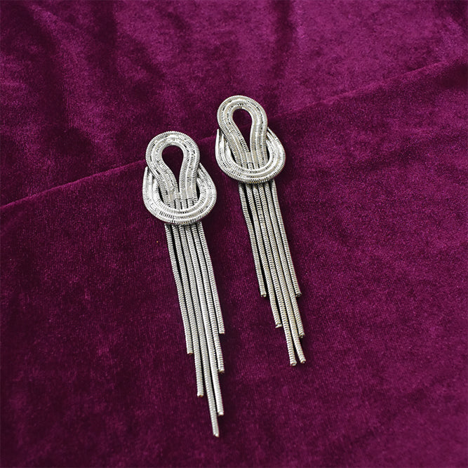 Kamikaze - Silver - Metal Tassel Earrings