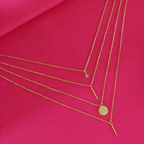 Daenerys Layered Necklace - Golden Dainty  Metal Layered Necklace with Tiny Charms