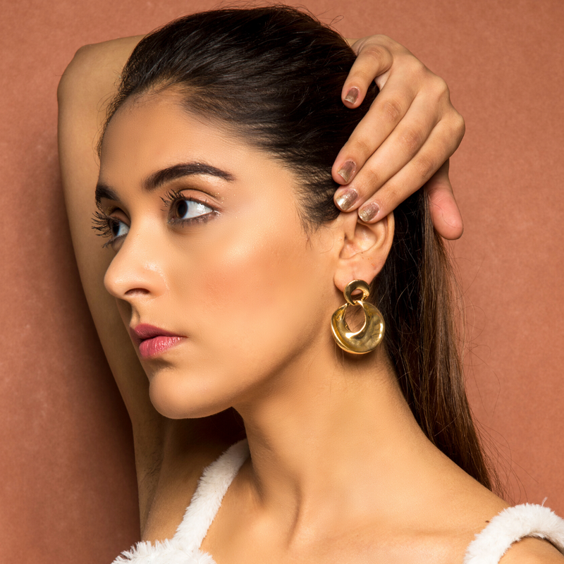 Demeter - Circle In Circle Dainty Golden Hoop Earrings