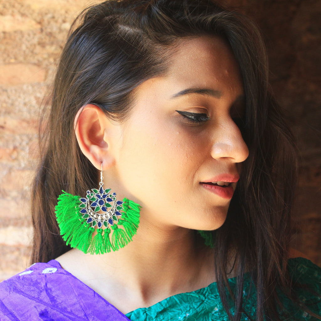 Dilruba - Blue & Green - Tassel Earrings