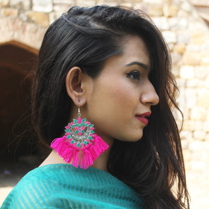 Dilruba - Blue & Pink - Tassel Earrings