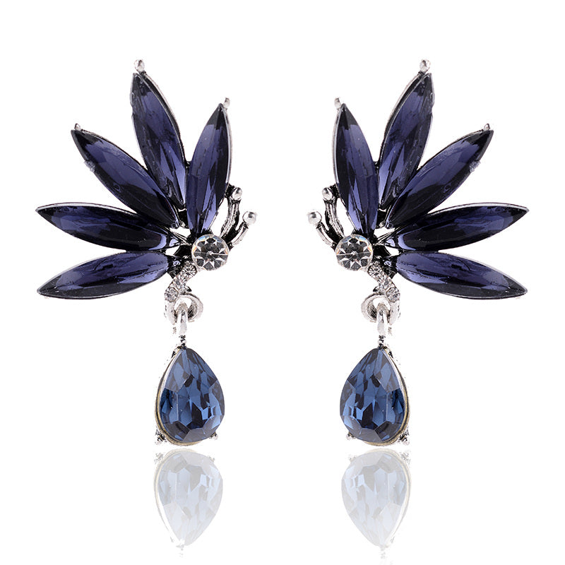 Divine Drops - Navy - Crystal Earrings