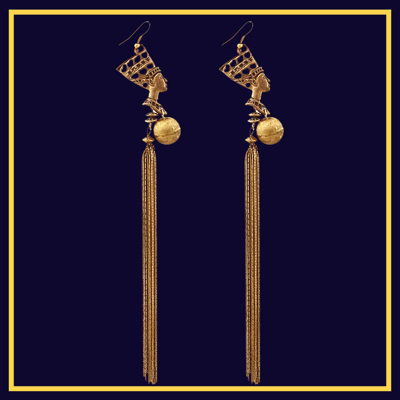 Egyptian Romance - Metal Tassel Earrings