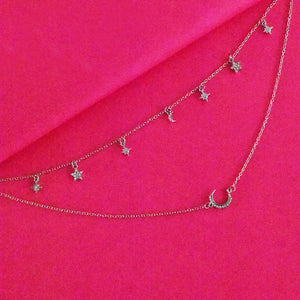 Elsa Layered Necklace - Golden Metal Layered Necklace with Tiny Charms