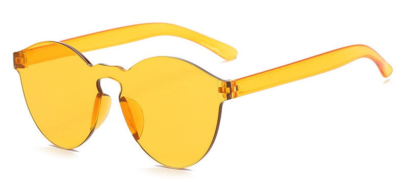 Eye Candy - Yellow - Round Colourful Translucent Frame Sunglasses