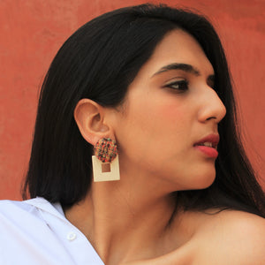 Fair & Square- Beige - Stud Earrings