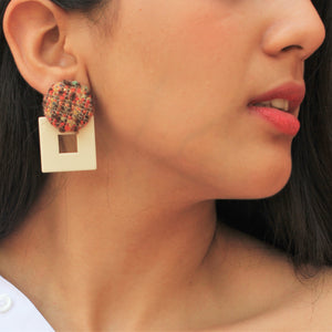 Fair & Square- Beige - Geometric Designed Stud Square Earrings