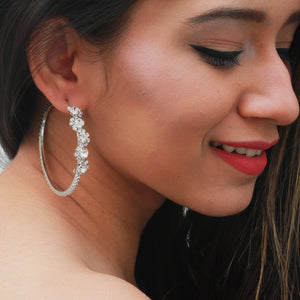 Fleur - Stone Studded Classy Hoop Earrings