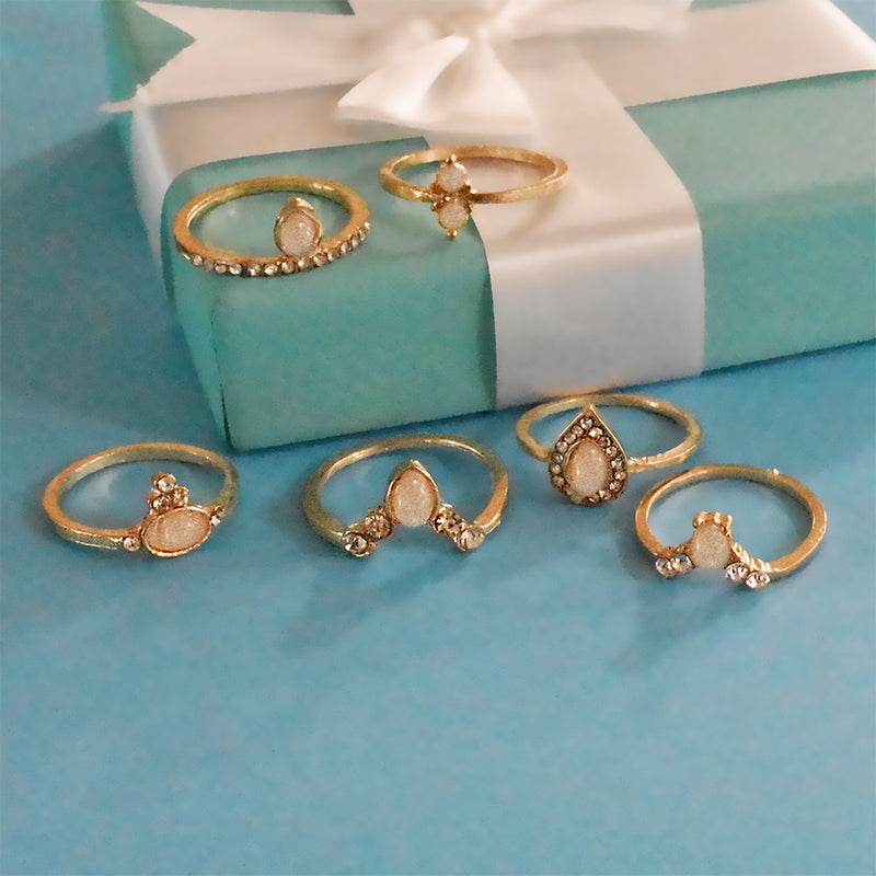 Florence Set of Rings - Golden Stone Ring Set