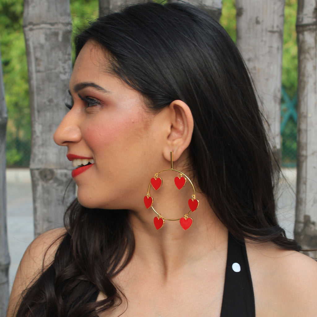 Fluttering Hearts - Circular Heart Dangle Earrings