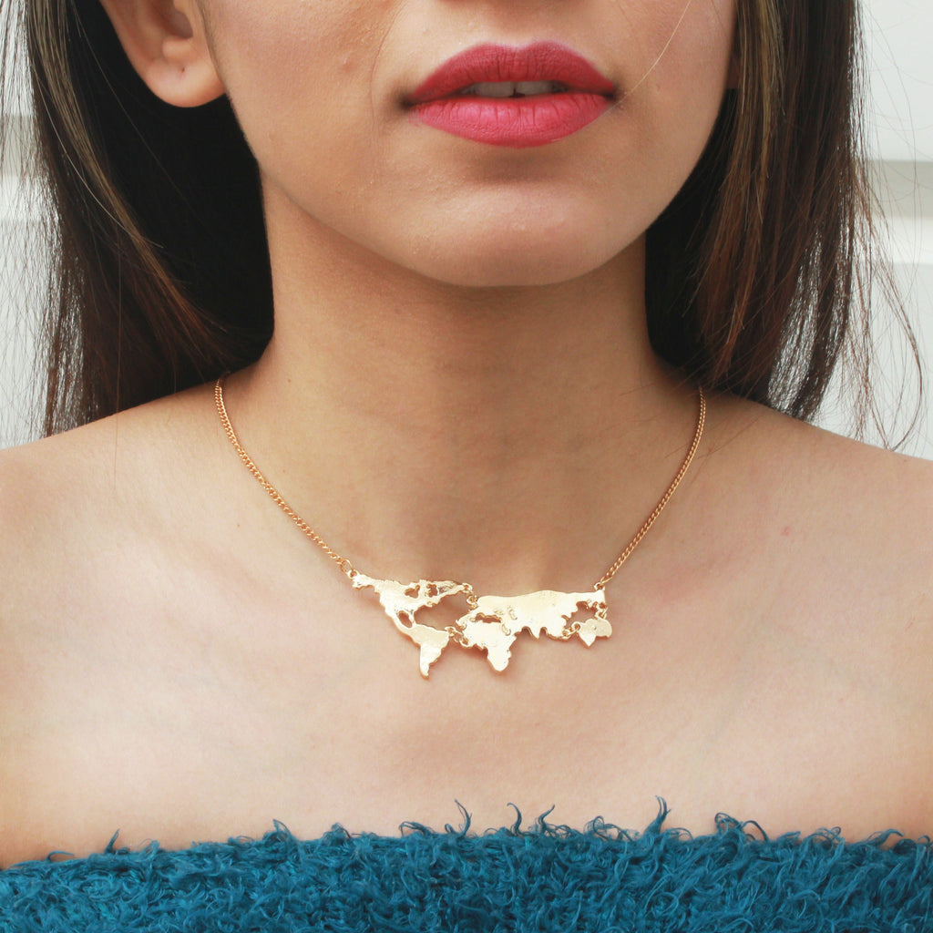 Globetrotter - Gold - Miniature World Map Dainty Necklace