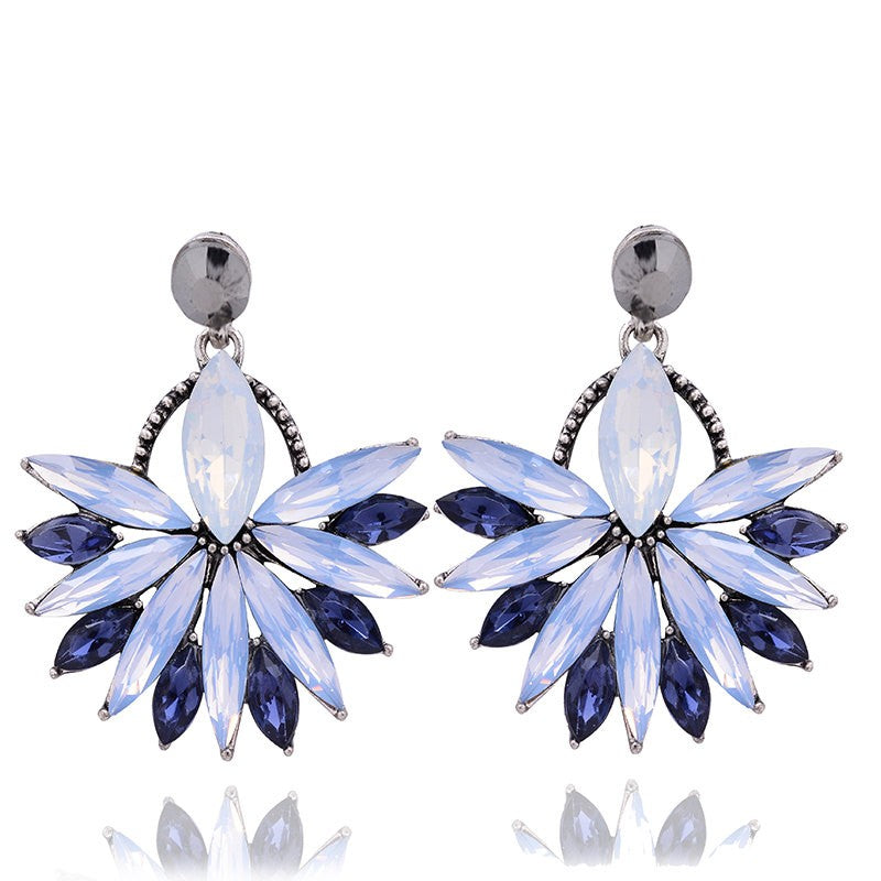 Glow - Blue - Intricate Delicate Crystal Stud Earrings