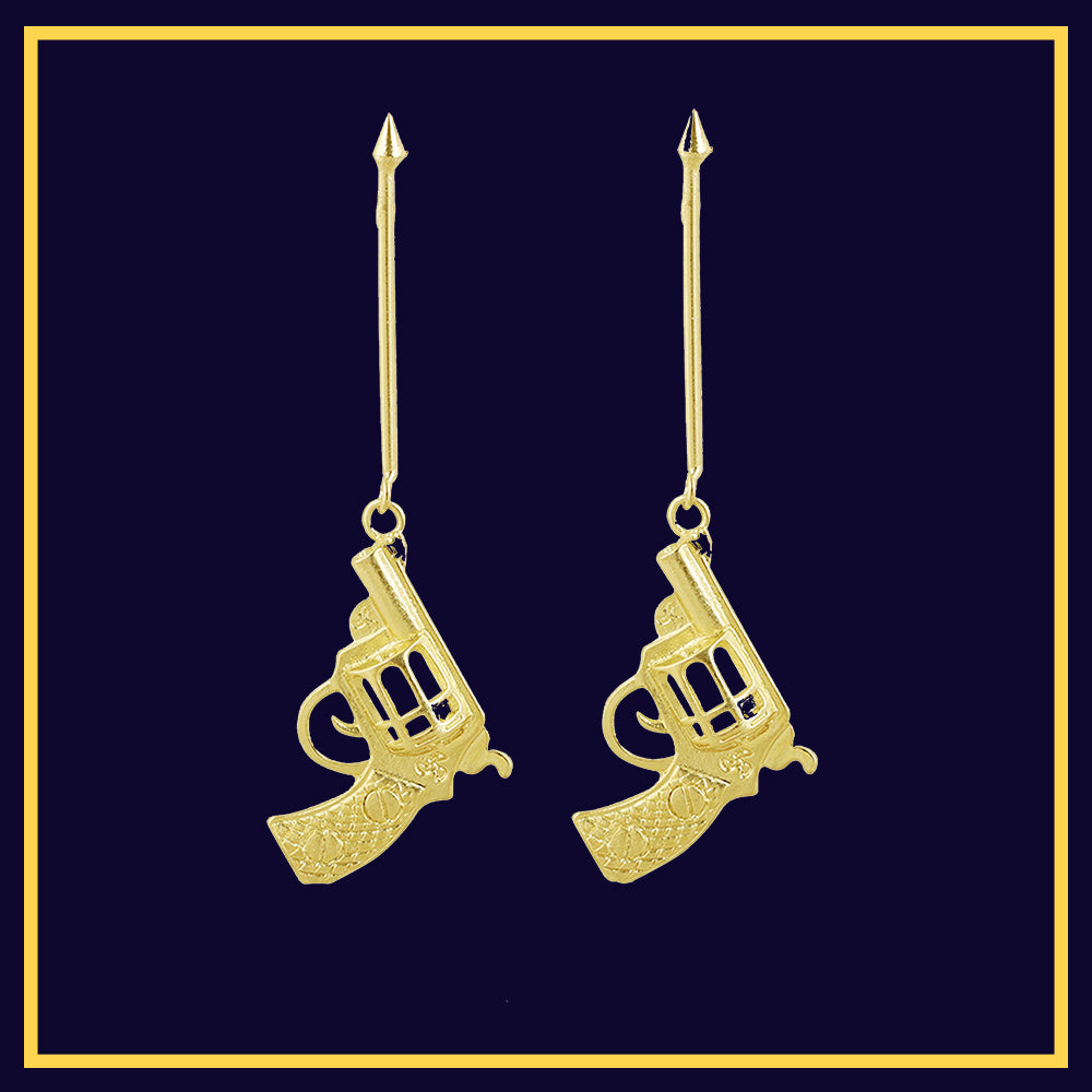 Jump The Gun - Long Golden Gun Statement Earrings