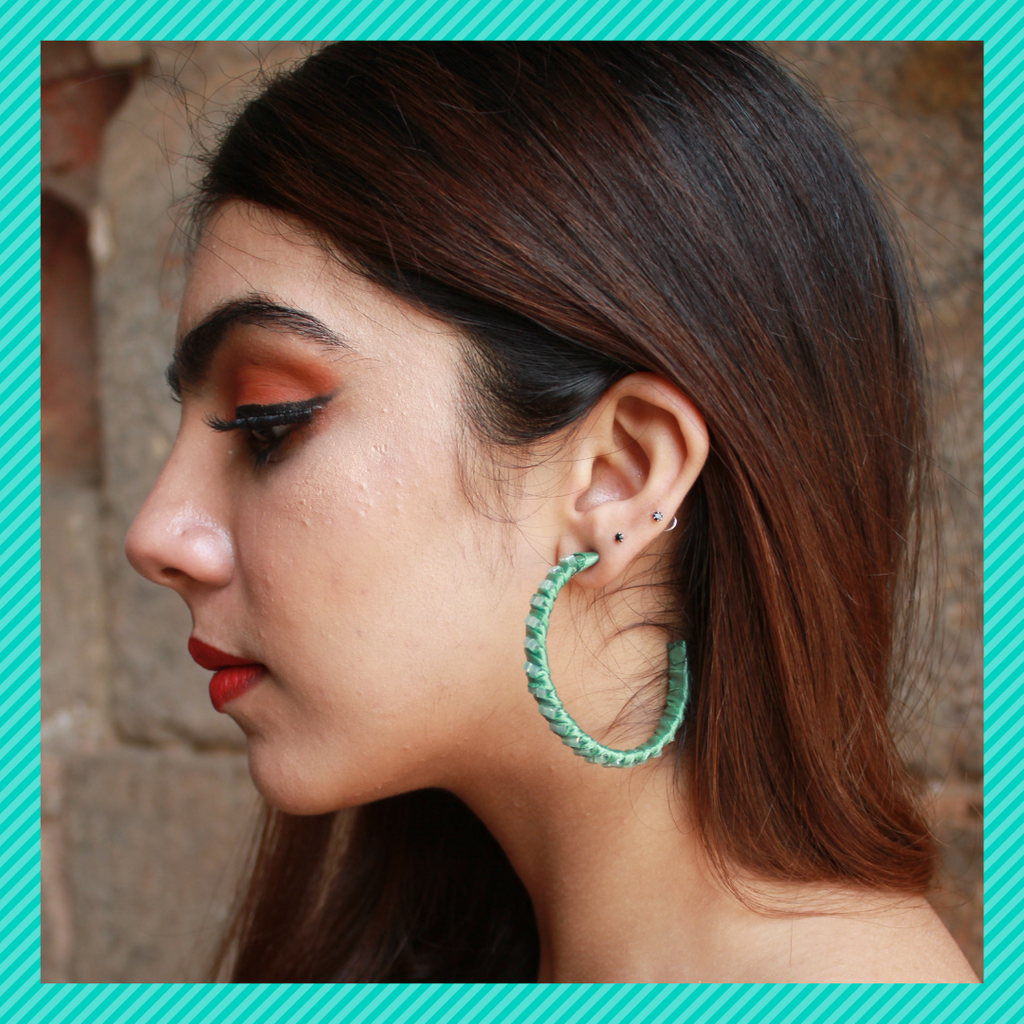 Hulahoops Small - Green - Studded Fabric Open Hoop Earrings