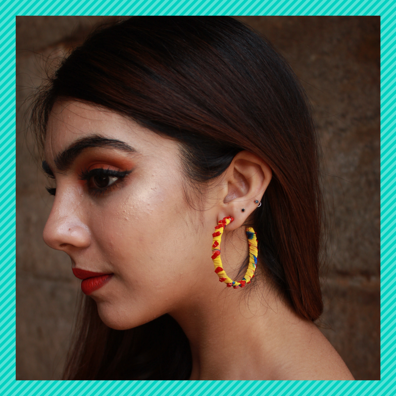 Hulahoops Small - Yellow - Studded Fabric Open Hoop Earrings