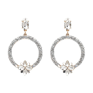 Silver Lady - Silver Hoop Earrings With Crystal Flowers
