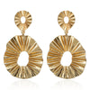 Blazing Sun - Golden Wrinkled Metal Earrings