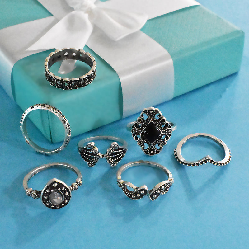 Havana Set of Rings : Silver Dainty Ring Stack With Black Stones