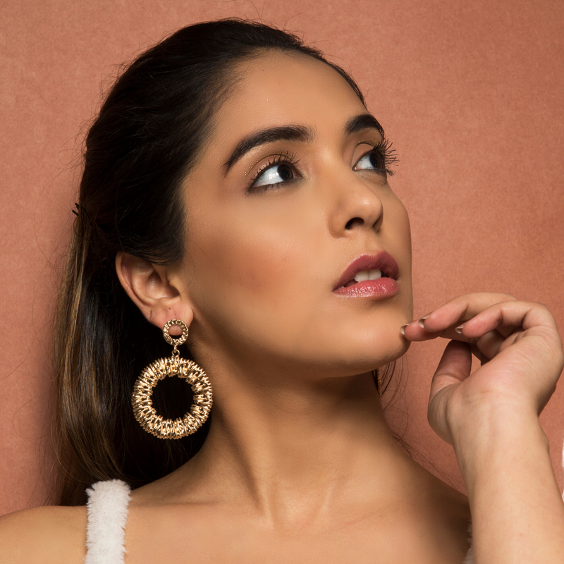 Herena - Golden Textured Hoop Earrings