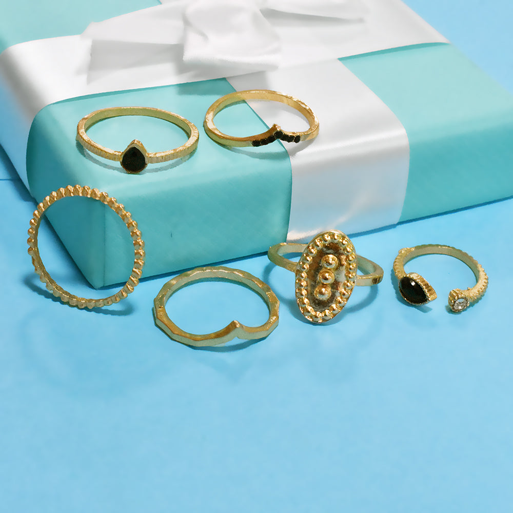 Honolulu Set of Rings - Dainty Golden Ring Set