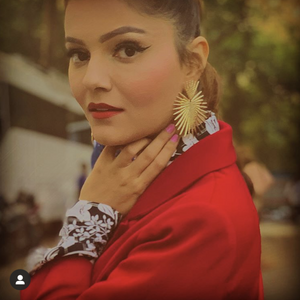 Rubina Dilaik In Knick Knack Nook Rising Sun - Golden Wrinkled Metal Statement Earrings