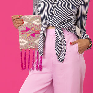Cotton Candy - Multicoloured Beaded Sling Bag with Tassels