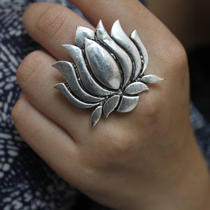 Ashwini's Silver Lotus - Artificial Silver Lotus Statement Ring