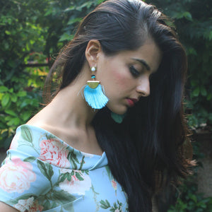Chica - Sky Blue Tassel Earrings