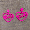 Babe (Pink) - Heart shaped Neon Acrylic Earrings