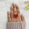 Sweetheart - Large Red Heart Enamel Ring