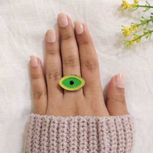 Bull's Eye- Neon - Multicoloured Evil Eye Dainty Ring