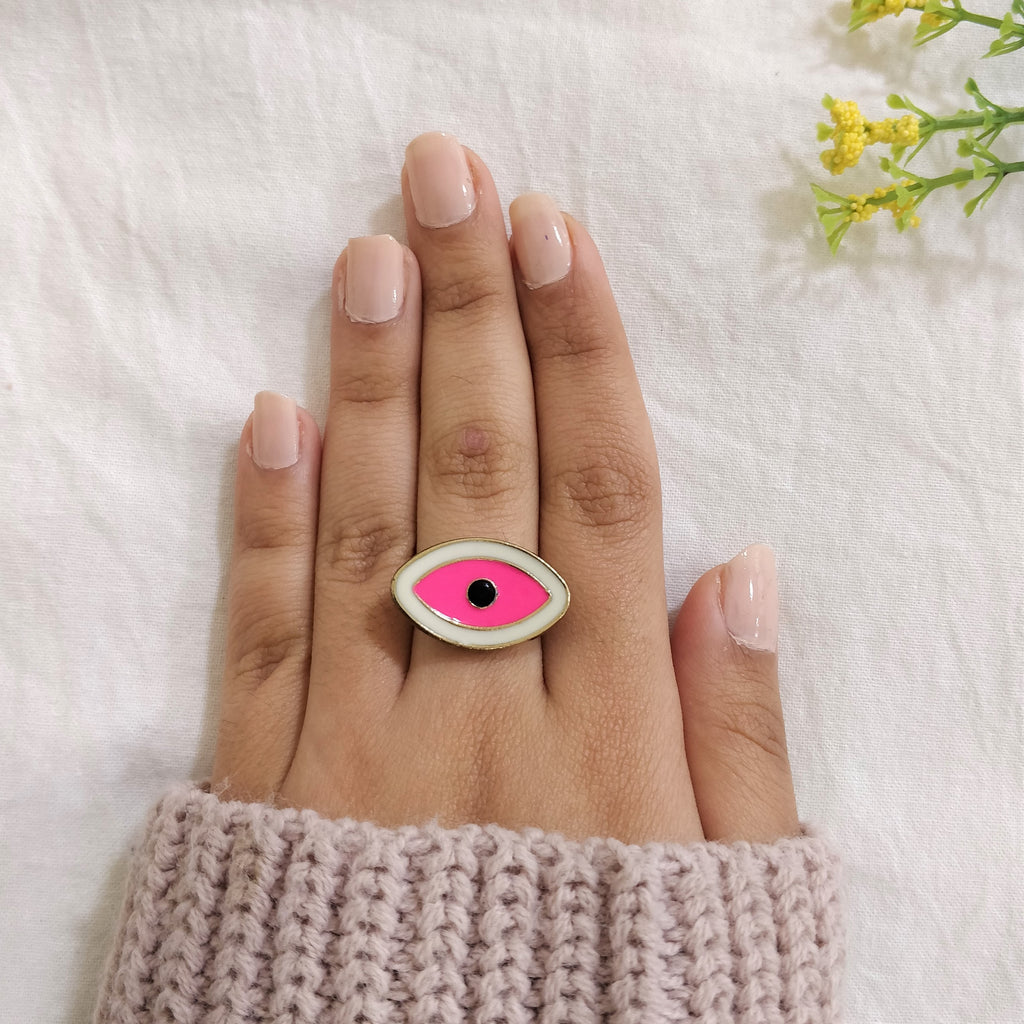 Bull's Eye- White - Multicoloured Evil Eye Dainty Ring