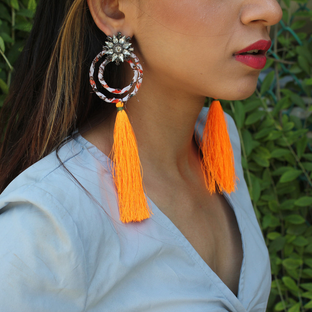 Blooming Dahlias - Neon Orange - Circular Earrings with Pink Tassels
